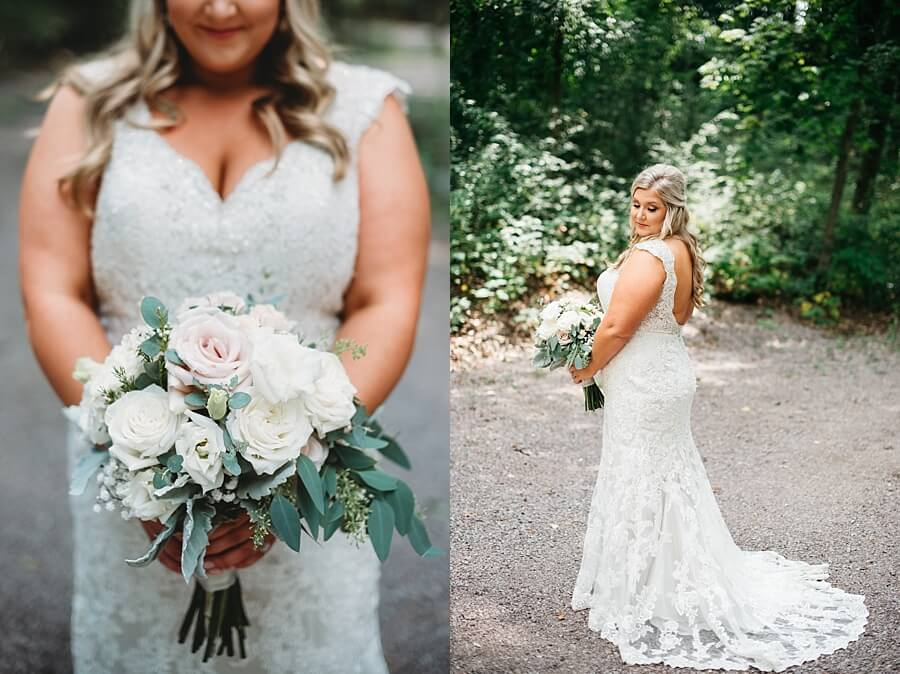 Bride holding bouquet from Wild Apples Floral