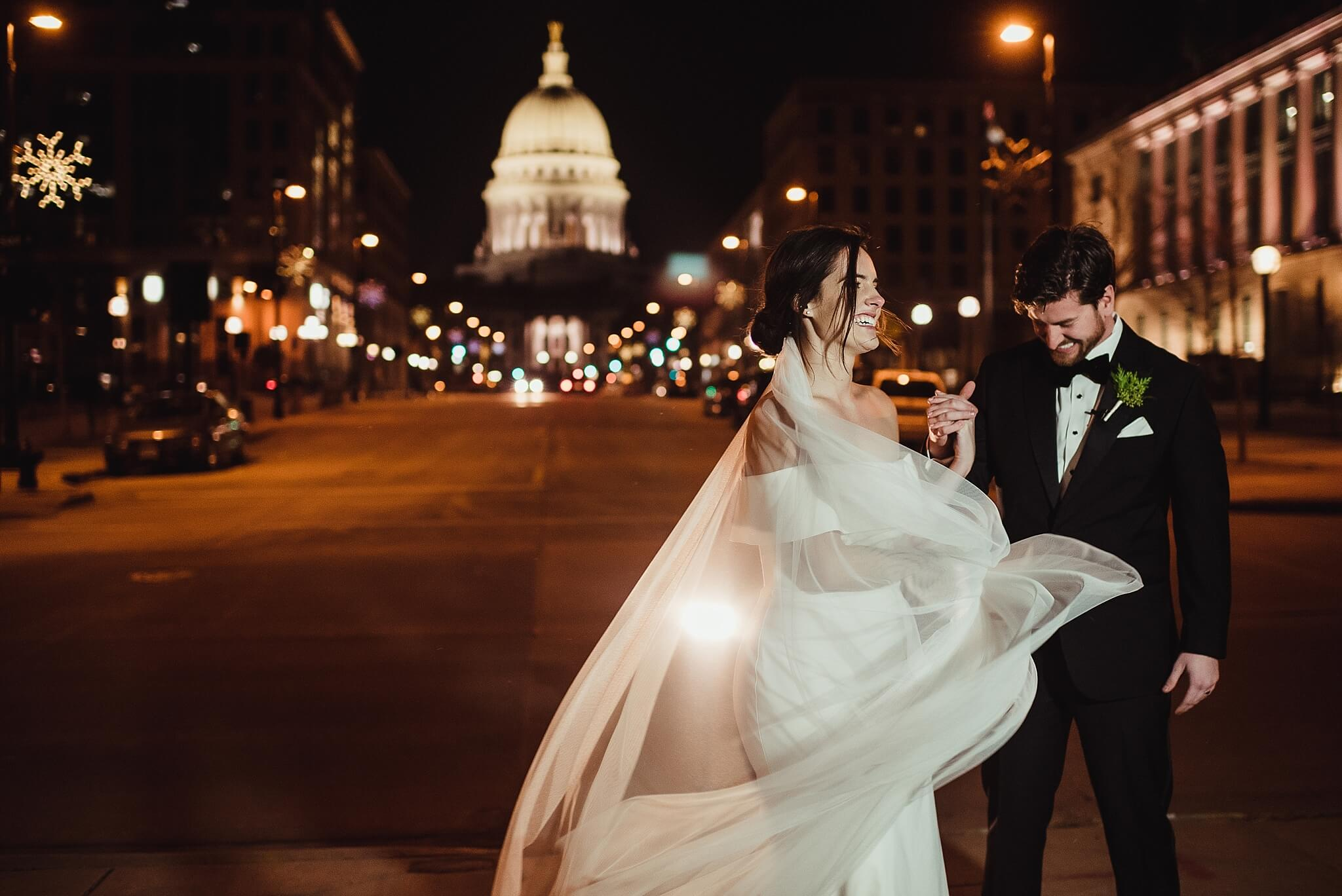 Madison Capital at Night Wedding Photographer